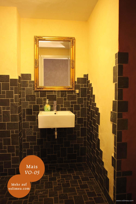 Mikrozement fugenlose Volimea Wandbeschichtung im Badezimmer - Mais VO-05