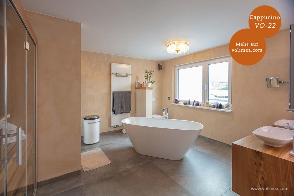 Mikrozement fugenlose Volimea Wandbeschichtung im Badezimmer - Cappucino VO-22
