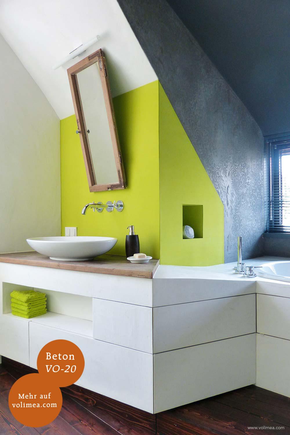 Mikrozement fugenlose Volimea Wandbeschichtung Badezimmer - Beton VO-20