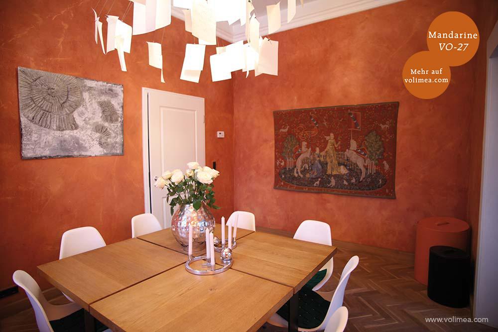 Mikrozement fugenlose Volimea Wandbeschichtung im Büro - Mandarine VO-27 Fresco