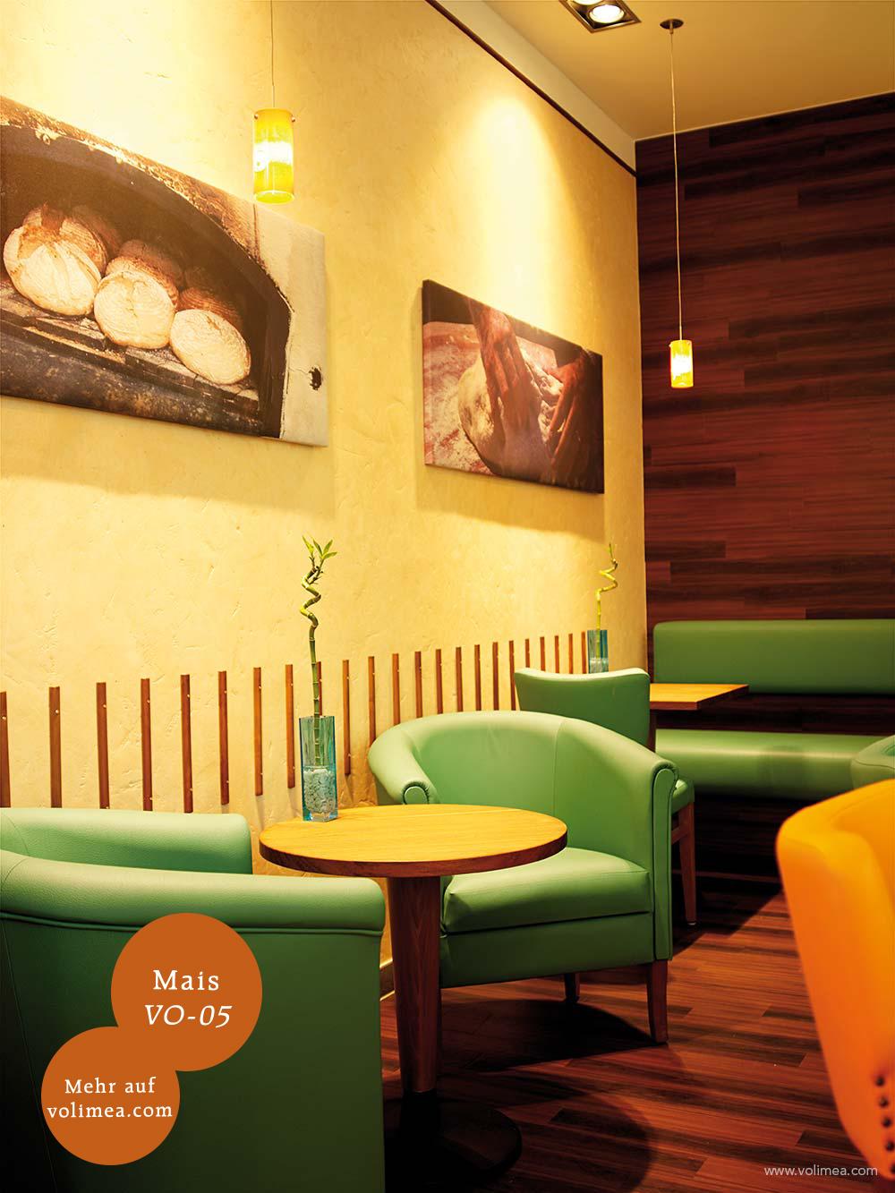 Mikrozement fugenlose Volimea Wandbeschichtung in einem Cafe - Mais VO-05