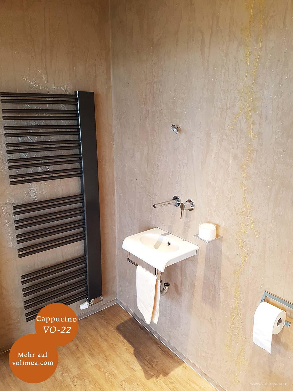 Mikrozement fugenlose Volimea Wandbeschichtung Sauna - Cappucino VO-22 mit Goldlasur und Prägetechnik